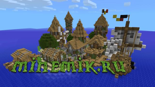 Остров с деревней для Майнкрафт ПЕ