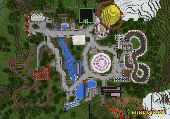 Карта Amusement Park - парк аттракционов в MCPE