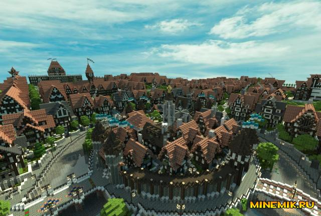 Карта Ferrodwynn Towncenter - красивый город для MCPE