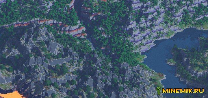 Aluod Peak — карта на выживание в горах minecraft PC