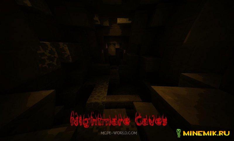 Карта NightMare Caves для майнкрафт pe